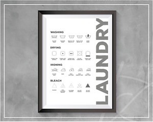 Laundry Room Print Care Guide Symbol Wash Dry Utility Room Wall Art Decor Print