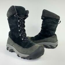 KEEN Womens HooDoo II Winter Boots Black Gray Faux Leather Mid Calf Laces 8.5 M