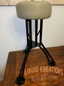 Custom industrial man cave shop garage leather steel bar stool powdercoated seat