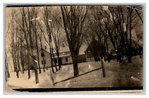 Vintage 1910's RPPC Postcard - Suburban Home Landscape