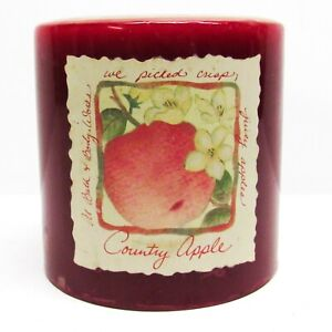 """Vintage Bath & Body Works White Barn Pillar Candle COUNTRY APPLE Scented 3"""""""
