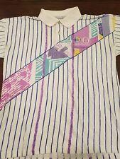 Vintage 80's SERGIO TACCHINI Tennis Academy Polo Geometric Design Shirt Medium