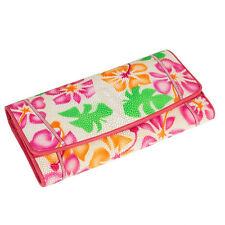 Genuine Stingray Leather Ivory Colorful Floral Trifold Clutch Bag Wallet KTM
