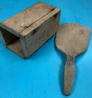 "Antique Vintage Wooden Butter Paddle and Mold Set Mold 5"" long, Paddle 9"" long"