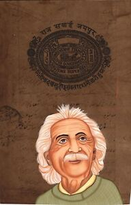 Albert Einstein Indian Miniature Art Handmade Old Stamp Paper Portrait Painting