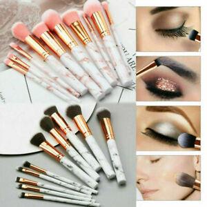 10Pack Marbling Professional Make-up Brush Set Foundation Brushes Blusher Face