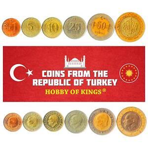 SET OF 6 COINS FROM TURKEY. 1, 5, 10, 25, 50 KURUS, 1 LIRA. 2009-2020