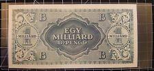 ✔ 1946 Hungary Egy Milliard B.-Pengo One Side Error Note 1 Sextillion Pengo