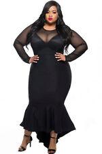 Formal Evening Fishnet Prom Bridesmaids Long Maxi Gown Dress Plus Size 1X 2X 3X