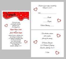 100 Personalized Custom Red Hearts Border Bridal Wedding Invitations Cards Set
