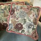 """2 Renaissance Woven Art Throw Pillows Tapestry Floral w/ Pink Fringe 16"""" Square"""