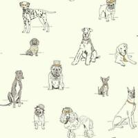 Wallpaper Dogs Life Cute Black Line Drawings, Grey, Gold Ink, On Eggshell White