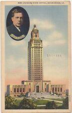 "Postcard ""New Louisiana Capitol & Huey Long"" Postmarked 1946 from BATON ROUGE LA"