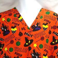 Scrub Top XL Scrub Co. Halloween Orange Trick Or Treat Witch Hat Candy Nurse CNA
