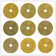 "100mm 4"" Wet/Dry Diamond Polishing Pads for Granite Marble 9 Pad set Grits HB"