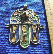 Moroccan Amazigh  hand made tarnished enamel  Hand pendant or key ring 55mm