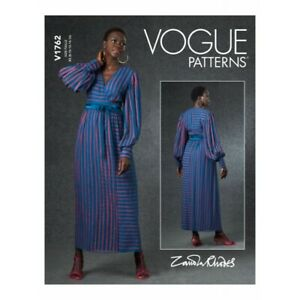 Vogue Sewing Pattern V1762 Misses' Lined Wrap Dress With Bishop Sleeves