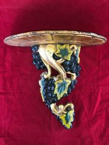 GOOD ANTIQUE WOODEN HAND CARVED FRUITING VINE WALL SCONCE / BRACKET. #1