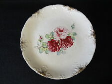 "Vintage LA BELLE CHINA Gold Accent PINK ROSES 11 3/8"" Wheeling WV Pottery  PLATE"
