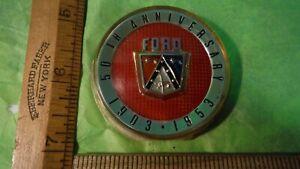 BD41 Ford 50th Anniversary Horn Button Emblem Vintage 1953 CRESTLINE VICTORIA