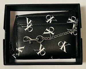 Calvin Klein CK Black Leather Wallet With Chain BRAND NEW