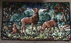 """Vintage Tapestry Deer Family Wall Hanging Man Cave 36""""x20"""" Velour Velvet"""
