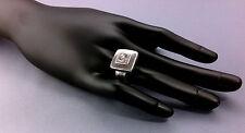 BAGUE ARGENT 925 -  CARRE AVEC OXYDES - 12.60 G