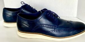Blue Leather Wing Tip Tie-Ups Men's 14 Cole Haan Original Grand 3 EUCC-30563