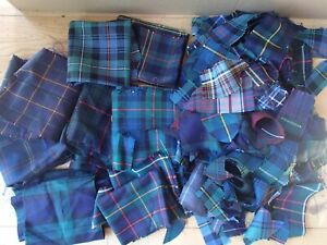 Tartan Off Cuts, Remnants, Patchwork Cloth Scraps 100% Wool Fabric British Woven