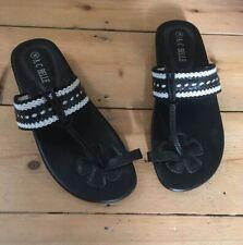 Womens sandals 38 uk 5 black white summer beach casual A.C.BELLE