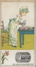 Victorian Trade Card-Eureka Silk Sewing Thread-Kate Greenaway-Girl Having Tea
