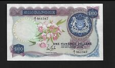 Singapore p-6a, VF-XF, 100 Dollars, 1967, Orchids