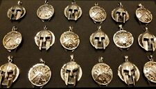 Spartan Helmet/Shield silver pendant
