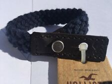 Unisex Woven Navy Genuine Leather Friendship Bracelet Beach by Hollister&CO