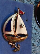 NOS AVON RED WHITE BLUE ENAMEL SAILBOAT WITH ANCHOR PIN BROACH