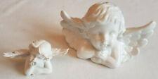 2x Engel Figuren weiß Büsten Ton Dekoration