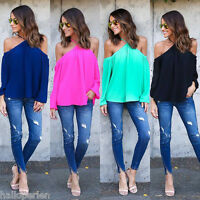 Sexy Women Summer Loose Casual Chiffon Off Shoulder Shirt Tops Blouse Solid Top