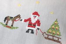 CHRISTMAS ROCKING HORSE & SANTA PULLING TREE! VTG GERMAN HAND EMB TABLECLOTH