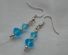 plated blue crystals free stoppers Handmade dangle drop earrings silver