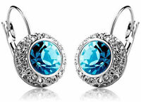 Austrian Crystal Jewellery Diamond Shine Silver & Sky Blue Earrings E283
