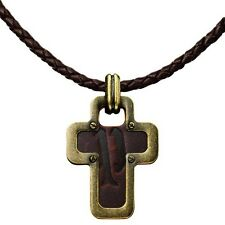 POLICE SOUL MENS NECKLACE CROSS PENDANT GENUINE PJ21120PLG/03 STEEL AND LEATHER