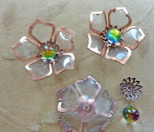 4 vintage copper flower beads, Vitrail Swarovski crystal, cabochon, 48mm