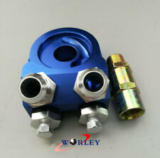 Blue Universal Aluminum AN10 Oil Cooler Kit Adapter Sandwich Fitting Turbo Plate