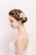 Handmade Golden Pearl Wedding Hair Accessories, Wedding Hair piece, Hair Clip