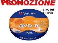 30 DVD -R Verbatim 100 % Vergini Vuoti 16 X 4.7 Gb 120 Min Offerta