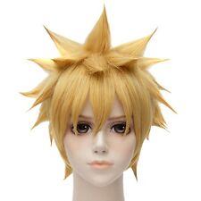 Naruto Golden Blond Kurz Straight Party Cosplay Anime Voll Hitze Haar Perücken