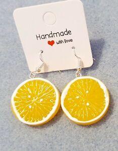 Lemon Slice Earrings Funky Novelty Summer Fun Fruity Dangly Earrings