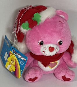 "NWT Care Bears 5"" Sitting Love A Lot Bear Christmas Plush Keychain"