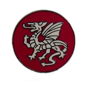 Round Saxon White Dragon badge ENGLAND lapel badge