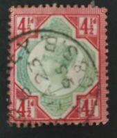 GB Great Britain SG 206a 4½d green & deep bright carmine